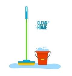 Bucket and mop vector