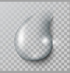 a realistic water drop with shadows reflect vector image vector image