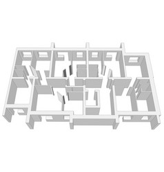 Building room plan on white vector