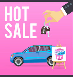 car sale banner with cartoon vector image vector image