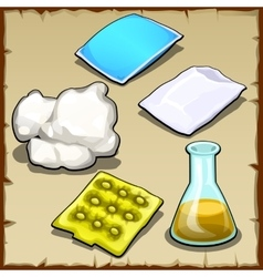 Chemist set of pillows cotton and flasks vector