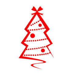 christmas tree red logo isolated vector image vector image