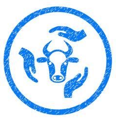 Cow care hands rounded grainy icon vector