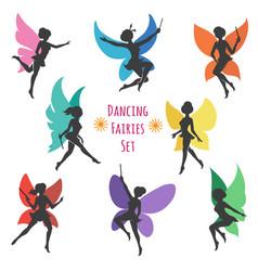 dancing fairies set vector image vector image