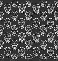 Decorative mexican skulls seamless pattern vector