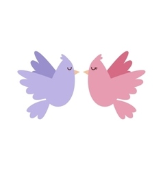 Doves couple with hearts icon vector image vector image