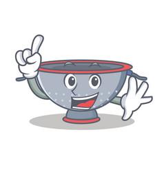 Finger colander utensil character cartoon vector