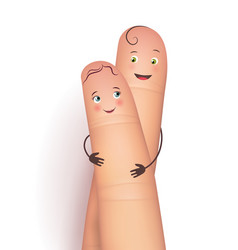 finger copule in love hugging vector image vector image