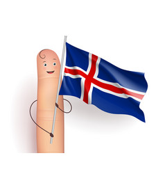 Finger with iceland waving flag vector