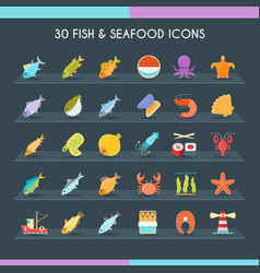 Fish and seafood thin set vector