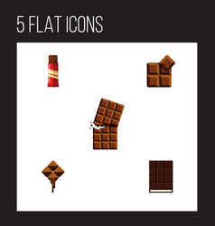 flat icon chocolate set of cocoa dessert sweet vector image