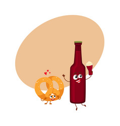 Funny beer bottle and salty pretzel characters vector