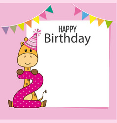 giraffe birthday card vector image