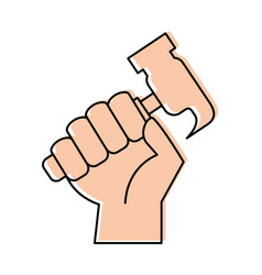 Hand human with hammer tool vector
