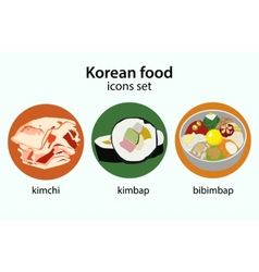 Korean food flat design icons set vector