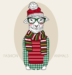 Lamb boy dressed up in winter style vector