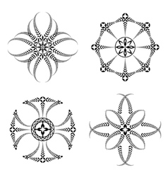 Laurel wreath tattoo icon set cross stylized vector
