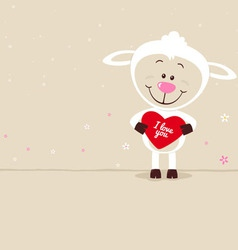 Lovely sheep with red heart vector image vector image