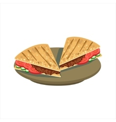 Meat Sandwich In Pita Bread Traditional Mexican vector image vector image