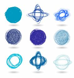 Pen drawn graffiti circles vector