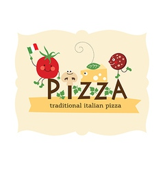 pizza lettering with cartoon ingredients vector image