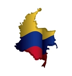 Realistic colombian map with colorful flag inside vector