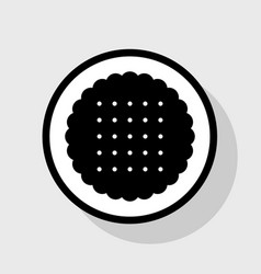 Round biscuit sign flat black icon in vector