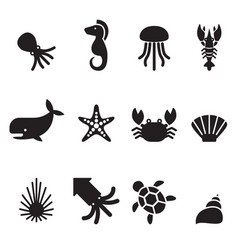 Sea animal icon set vector