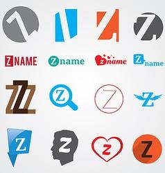 Set of alphabet symbols of letter Z vector image vector image