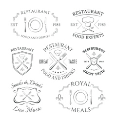 Set of heraldic restaurant logos labels and vector image vector image