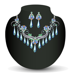 silver necklace vector image vector image