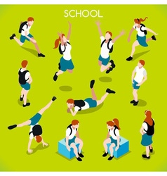 Students Set 01 People Isometric vector image vector image