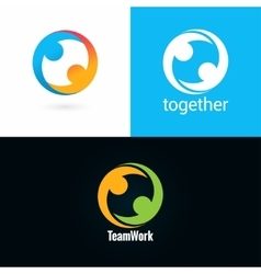 team work logo design icon set background vector image