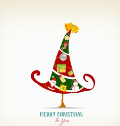vintage christmas tree with icon and element vector image vector image