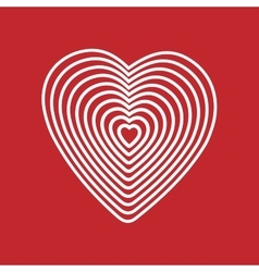 White heart on red background Optical of vector image