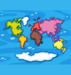 Worldmap in different color continents vector