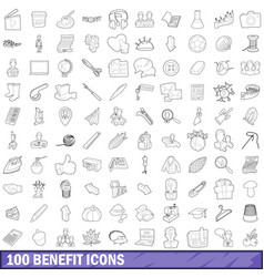 100 benefit icons set outline style vector