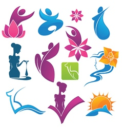 Collection of spa and beauty symbols vector