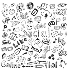 hand drawn icons big set of modern social doodles vector image