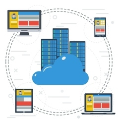 Online cloud storage to all devices vector