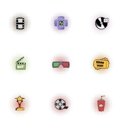 Movie theater icons set pop-art style vector