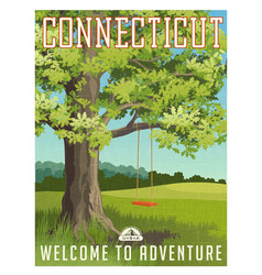 connecticut travel poster or sticker vector image