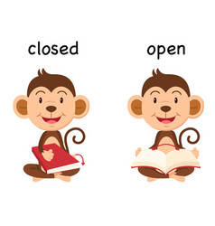 Opposite words closed and open vector