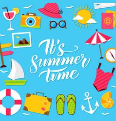 Summer time lettering postcard vector