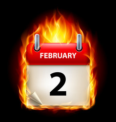 Second february in calendar burning icon on black vector