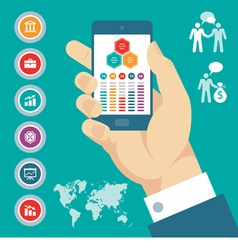 Infographic concept with mobile phone in hand vector
