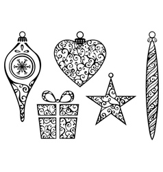 Vintage christmas elements vector