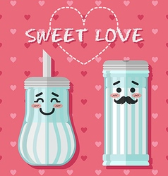 Loving couple of sugar bowl vector