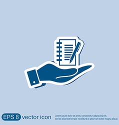 Hand holding a sheet of paper with pen vector