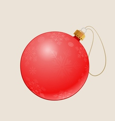 Red christmas ball with a pattern on vector